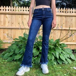 Distressed Bottom Flare Jeans